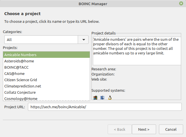 BOINC Manager Add Projects
